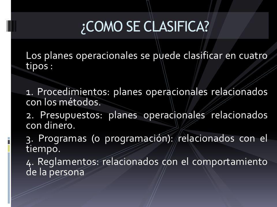 ¿COMO SE CLASIFICA Los planes operacionales se puede clasificar en cuatro tipos :