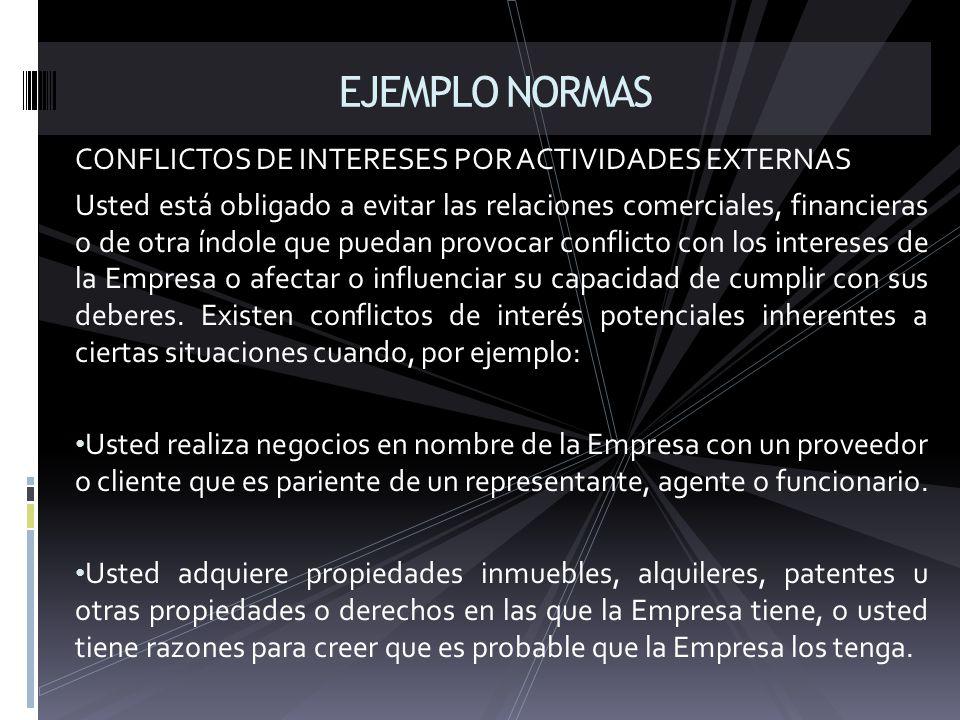 EJEMPLO NORMAS CONFLICTOS DE INTERESES POR ACTIVIDADES EXTERNAS