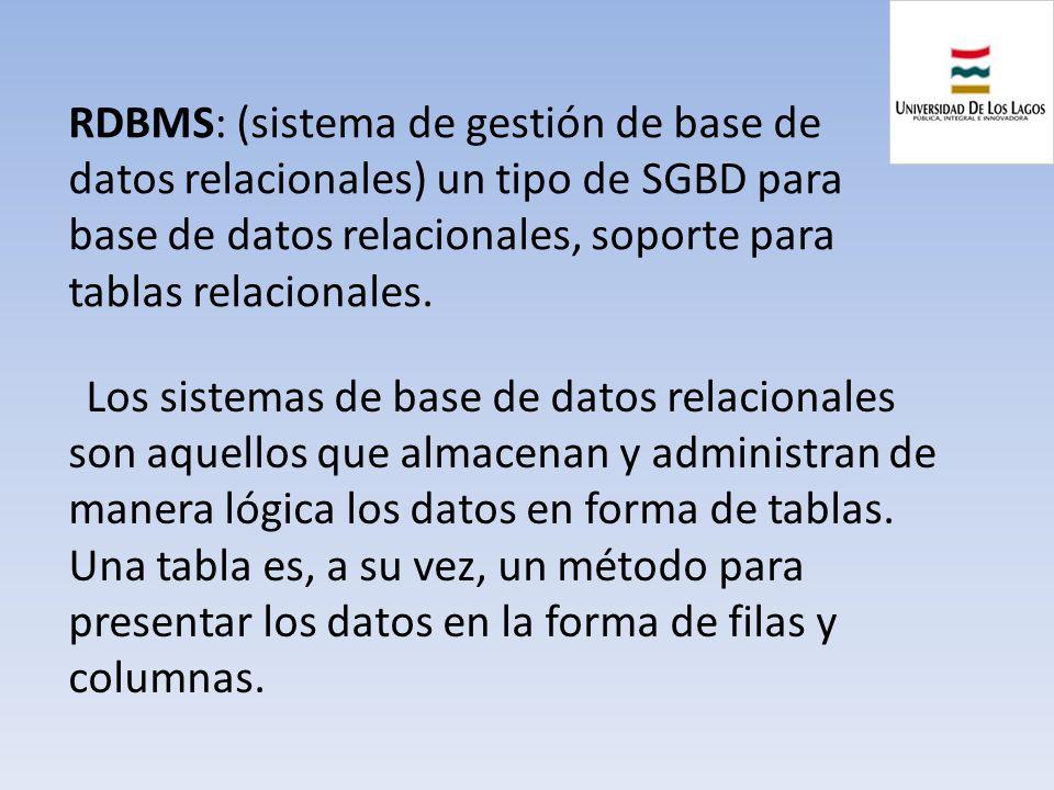 RDBMS: (sistema de gestión de base de datos relacionales) un tipo de SGBD para base de datos relacionales, soporte para tablas relacionales.