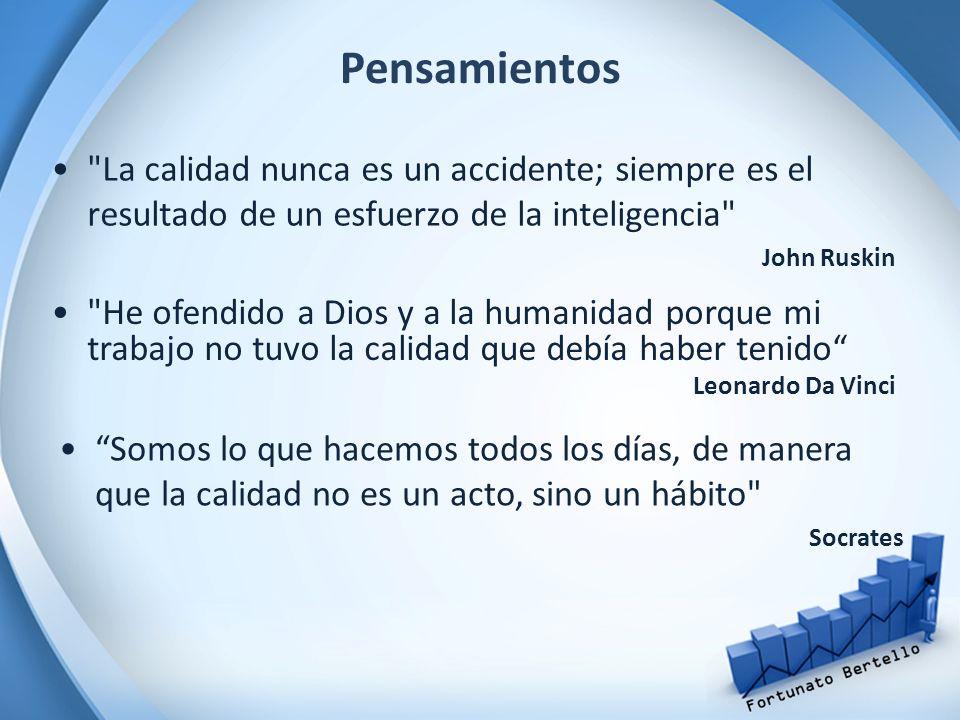 Pensamientos La calidad nunca es un accidente; siempre es el resultado de un esfuerzo de la inteligencia