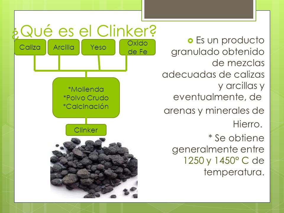 ¿Qué es el Clinker Es un producto granulado obtenido de mezclas adecuadas de calizas y arcillas y eventualmente, de