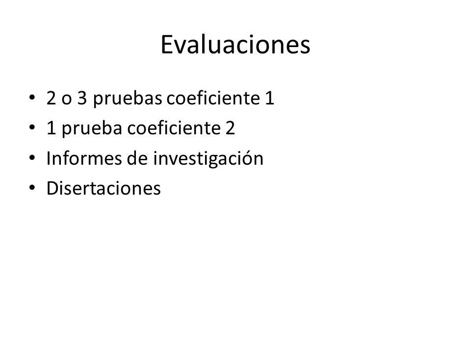 Evaluaciones 2 o 3 pruebas coeficiente 1 1 prueba coeficiente 2