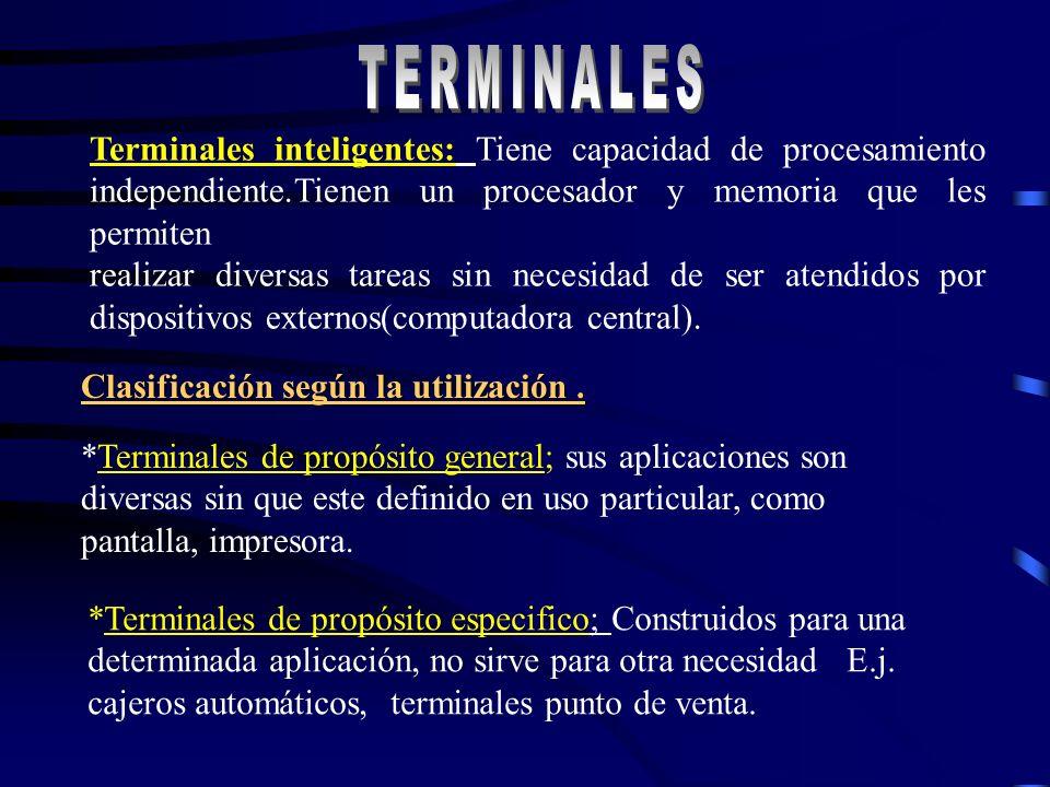 TERMINALES TERMINALES. Terminales inteligentes: Tiene capacidad de procesamiento independiente.Tienen un procesador y memoria que les permiten.