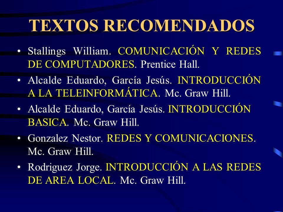TEXTOS RECOMENDADOS Stallings William. COMUNICACIÓN Y REDES DE COMPUTADORES. Prentice Hall.