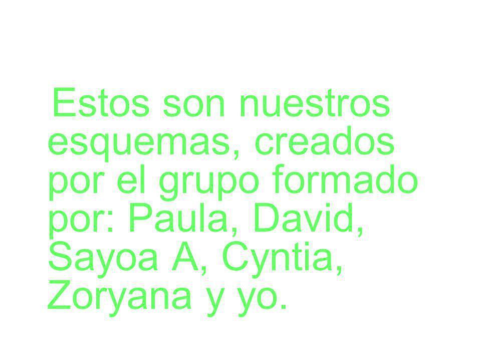 Estos son nuestros esquemas, creados por el grupo formado por: Paula, David, Sayoa A, Cyntia, Zoryana y yo.