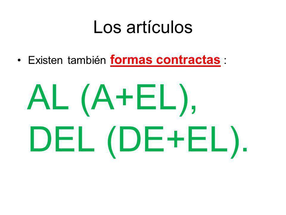 AL (A+EL), DEL (DE+EL). Los artículos