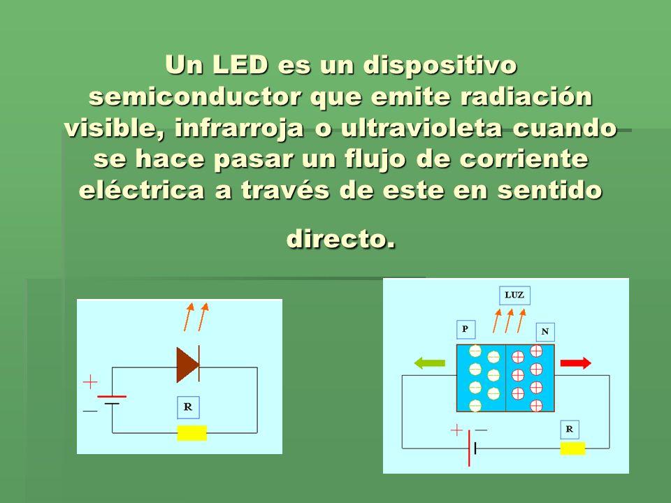 Un LED es un dispositivo semiconductor que emite radiación visible, infrarroja o ultravioleta cuando se hace pasar un flujo de corriente eléctrica a través de este en sentido directo.