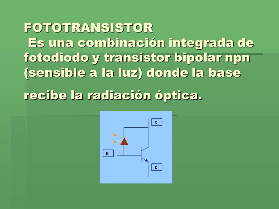 FOTOTRANSISTOR Es una combinación integrada de fotodiodo y transistor bipolar npn (sensible a la luz) donde la base recibe la radiación óptica.