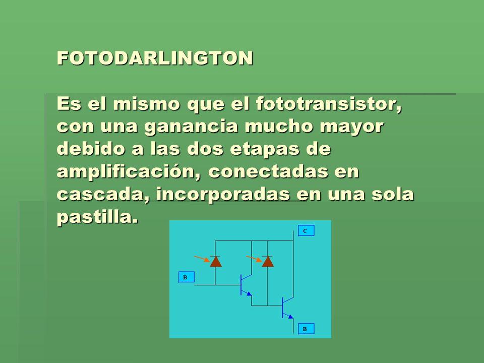 FOTODARLINGTON Es el mismo que el fototransistor, con una ganancia mucho mayor debido a las dos etapas de amplificación, conectadas en cascada, incorporadas en una sola pastilla.