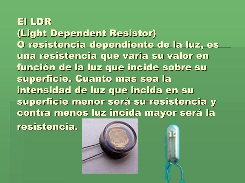 El LDR (Light Dependent Resistor) O resistencia dependiente de la luz, es una resistencia que varia su valor en función de la luz que incide sobre su superficie.