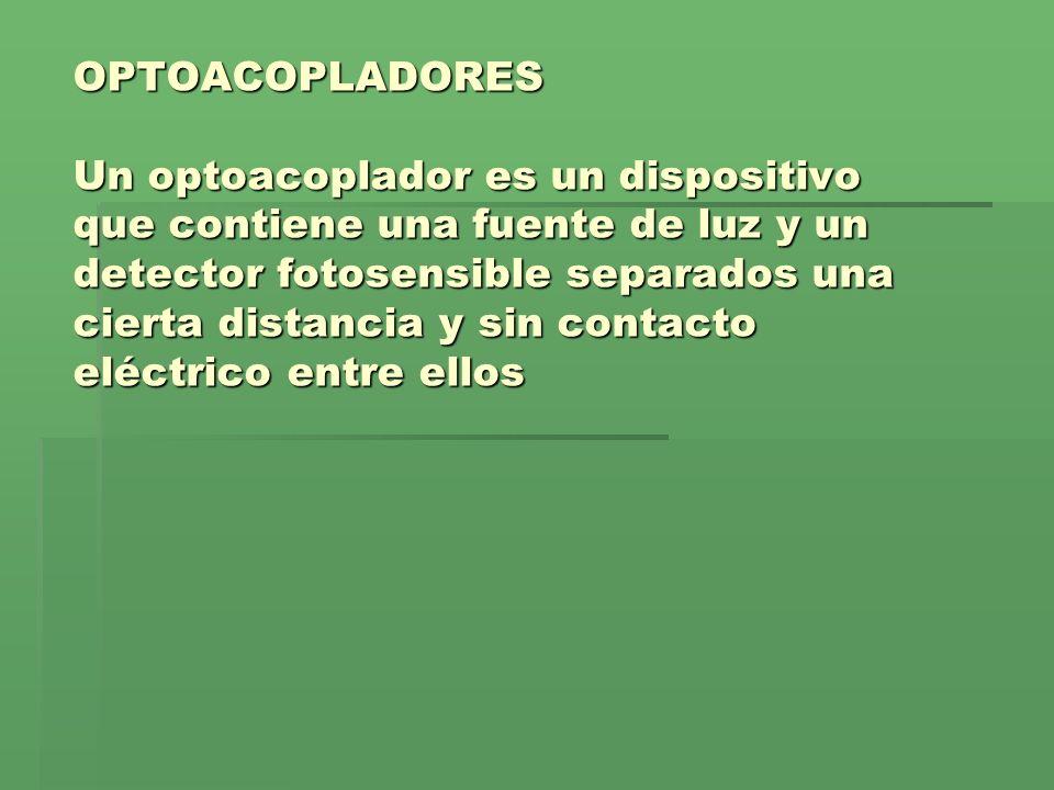 OPTOACOPLADORES Un optoacoplador es un dispositivo que contiene una fuente de luz y un detector fotosensible separados una cierta distancia y sin contacto eléctrico entre ellos