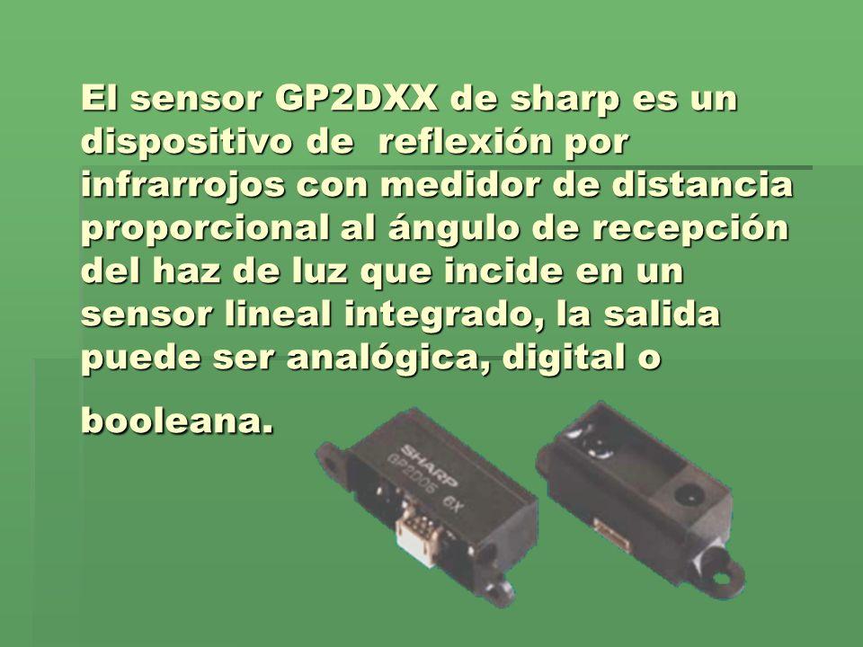 El sensor GP2DXX de sharp es un dispositivo de reflexión por infrarrojos con medidor de distancia proporcional al ángulo de recepción del haz de luz que incide en un sensor lineal integrado, la salida puede ser analógica, digital o booleana.
