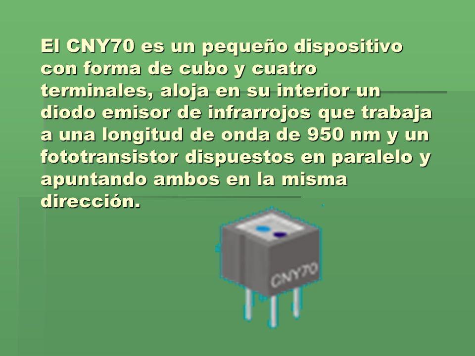 El CNY70 es un pequeño dispositivo con forma de cubo y cuatro terminales, aloja en su interior un diodo emisor de infrarrojos que trabaja a una longitud de onda de 950 nm y un fototransistor dispuestos en paralelo y apuntando ambos en la misma dirección.