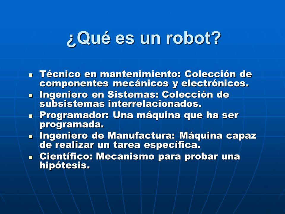 ¿Qué es un robot Técnico en mantenimiento: Colección de componentes mecánicos y electrónicos.
