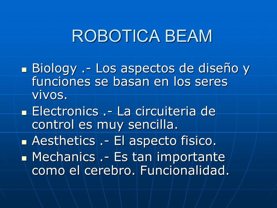 ROBOTICA BEAM Biology .- Los aspectos de diseño y funciones se basan en los seres vivos. Electronics .- La circuiteria de control es muy sencilla.