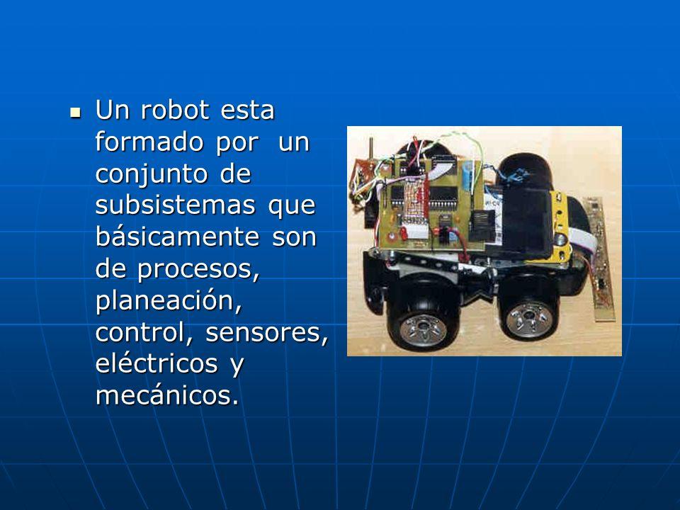 Un robot esta formado por un conjunto de subsistemas que básicamente son de procesos, planeación, control, sensores, eléctricos y mecánicos.