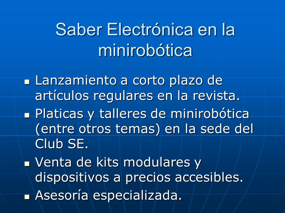 Saber Electrónica en la minirobótica