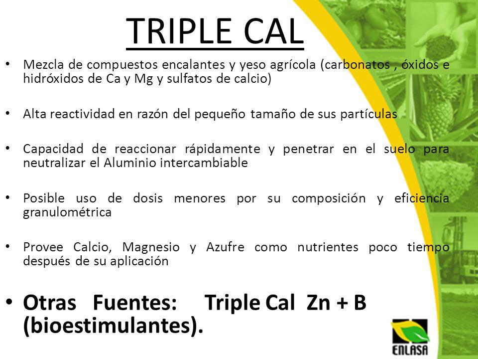 TRIPLE CAL Otras Fuentes: Triple Cal Zn + B (bioestimulantes).