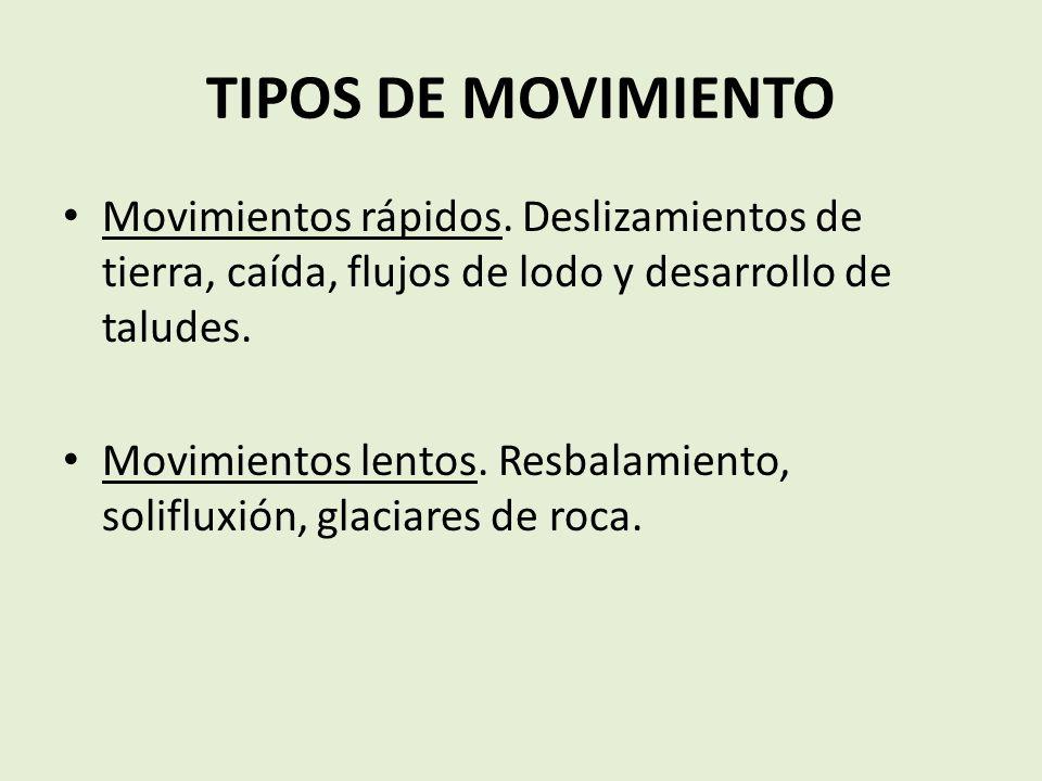 TIPOS DE MOVIMIENTO Movimientos rápidos. Deslizamientos de tierra, caída, flujos de lodo y desarrollo de taludes.