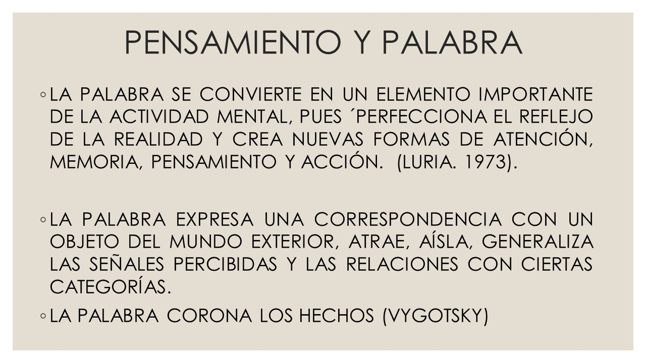 PENSAMIENTO Y PALABRA