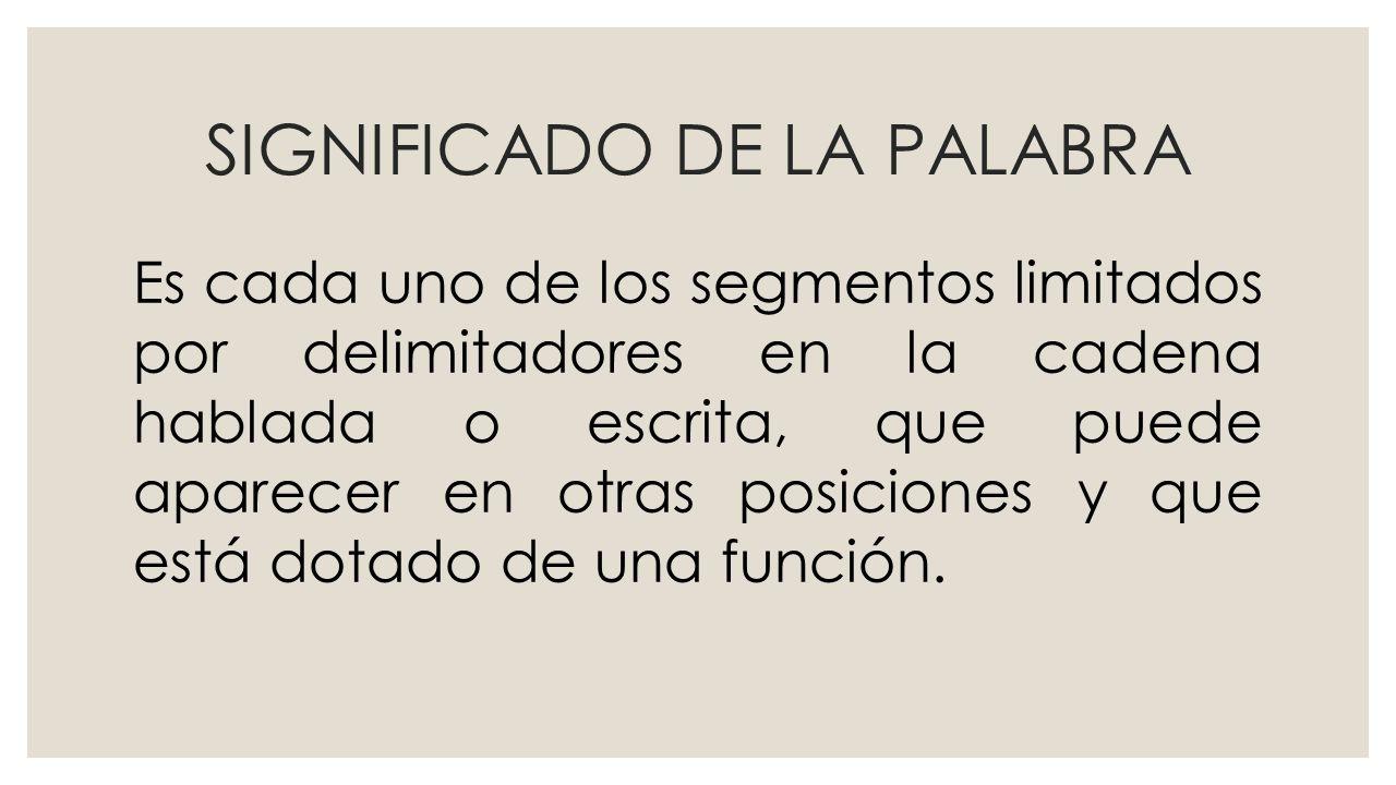 SIGNIFICADO DE LA PALABRA