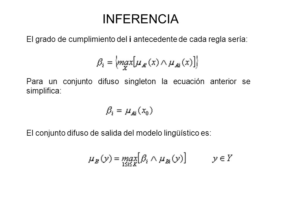 INFERENCIA El grado de cumplimiento del i antecedente de cada regla sería: Para un conjunto difuso singleton la ecuación anterior se simplifica: