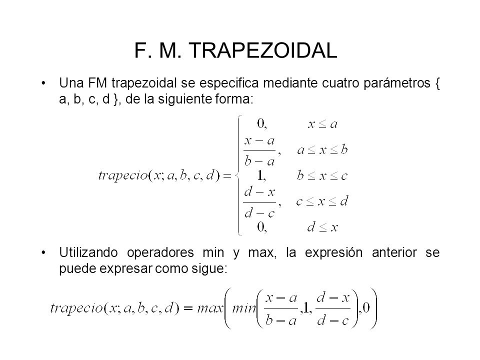 F. M. TRAPEZOIDALUna FM trapezoidal se especifica mediante cuatro parámetros { a, b, c, d }, de la siguiente forma: