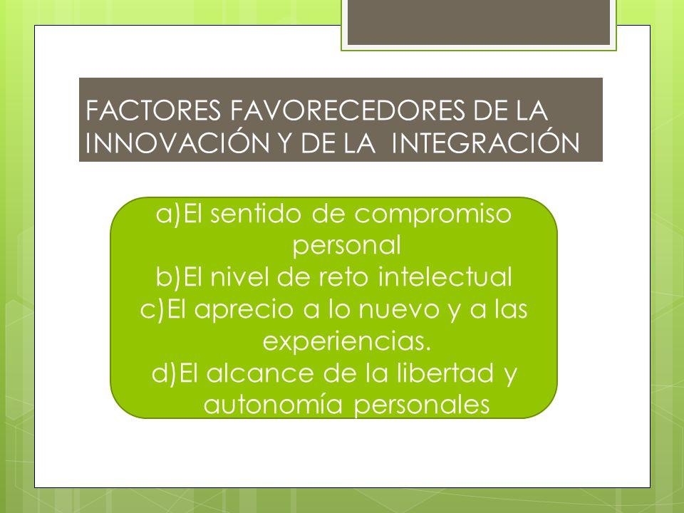 FACTORES FAVORECEDORES DE LA INNOVACIÓN Y DE LA INTEGRACIÓN