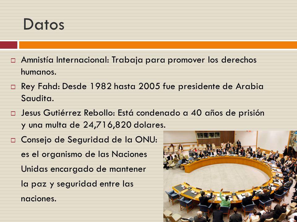 Datos Amnistía Internacional: Trabaja para promover los derechos humanos. Rey Fahd: Desde 1982 hasta 2005 fue presidente de Arabia Saudita.