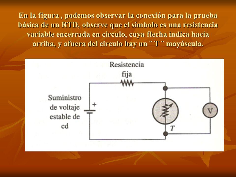 En la figura , podemos observar la conexión para la prueba básica de un RTD, observe que el símbolo es una resistencia variable encerrada en circulo, cuya flecha indica hacia arriba, y afuera del circulo hay un ¨ T ¨ mayúscula.