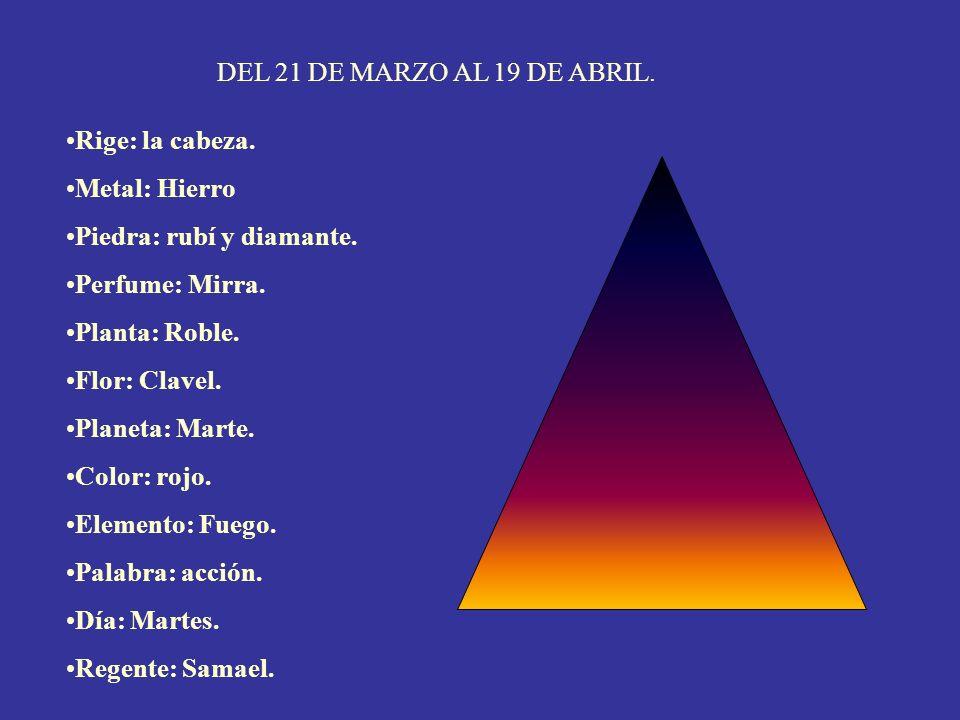 DEL 21 DE MARZO AL 19 DE ABRIL. Rige: la cabeza. Metal: Hierro. Piedra: rubí y diamante. Perfume: Mirra.