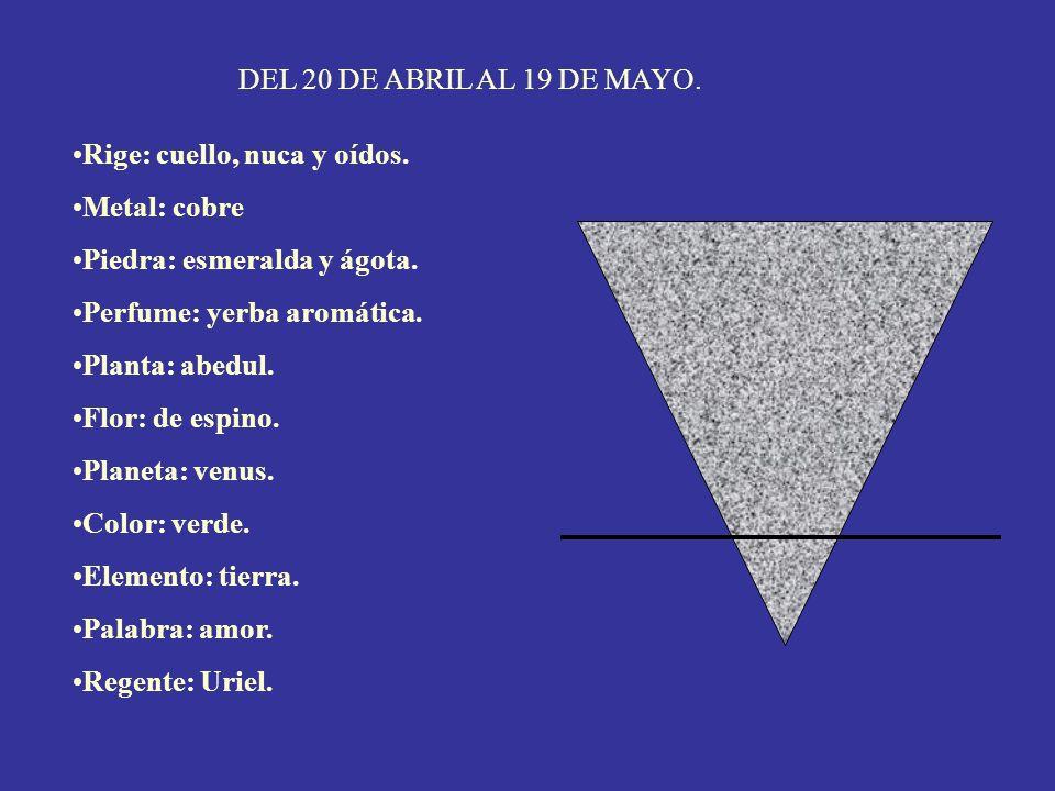 DEL 20 DE ABRIL AL 19 DE MAYO. Rige: cuello, nuca y oídos. Metal: cobre. Piedra: esmeralda y ágota.