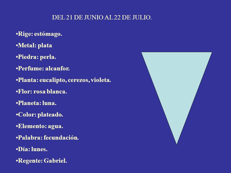 DEL 21 DE JUNIO AL 22 DE JULIO. Rige: estómago. Metal: plata. Piedra: perla. Perfume: alcanfor. Planta: eucalipto, cerezos, violeta.