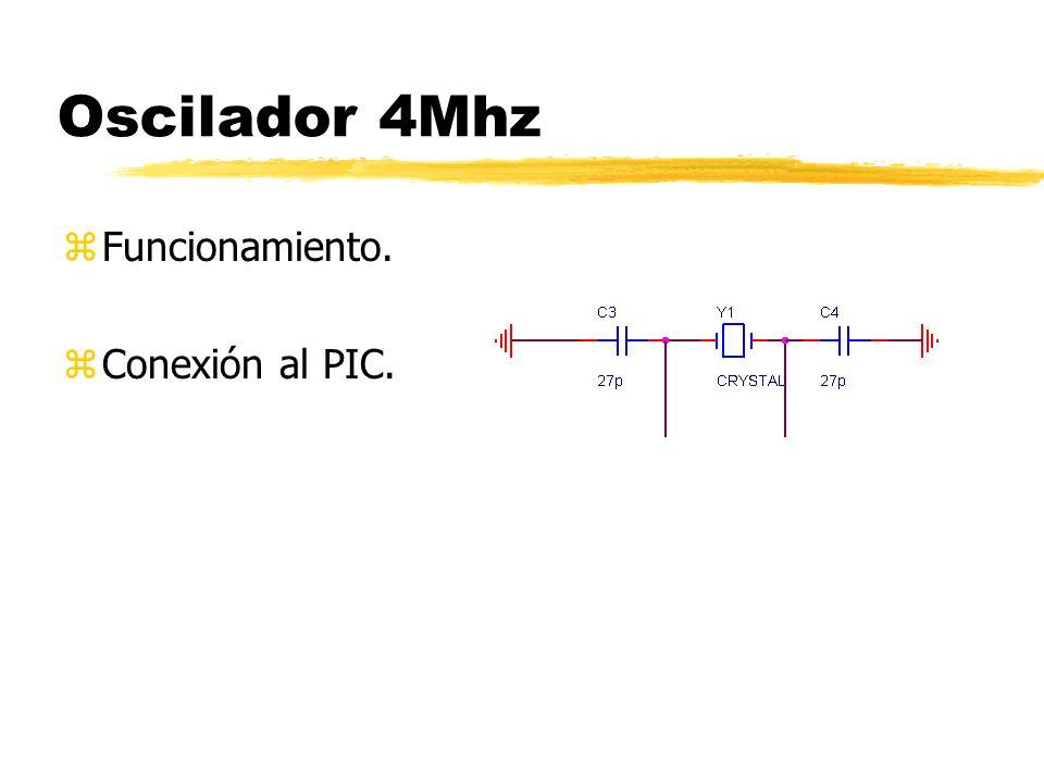 Oscilador 4Mhz Funcionamiento. Conexión al PIC.