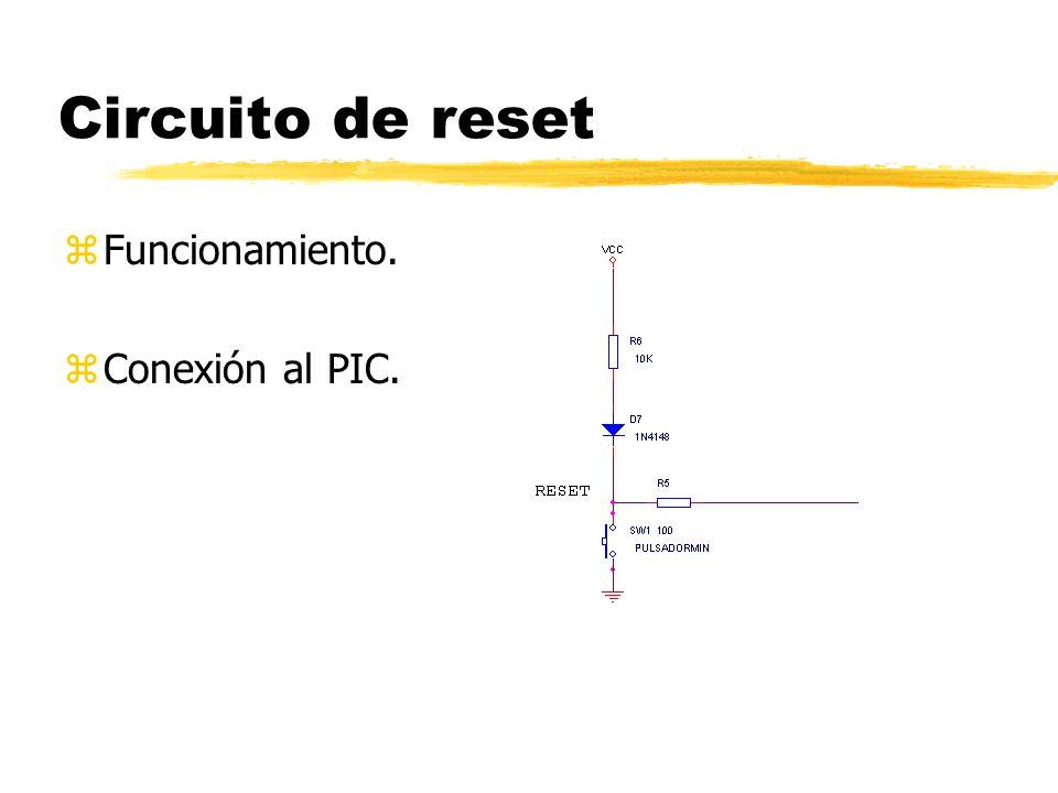 Circuito de reset Funcionamiento. Conexión al PIC.
