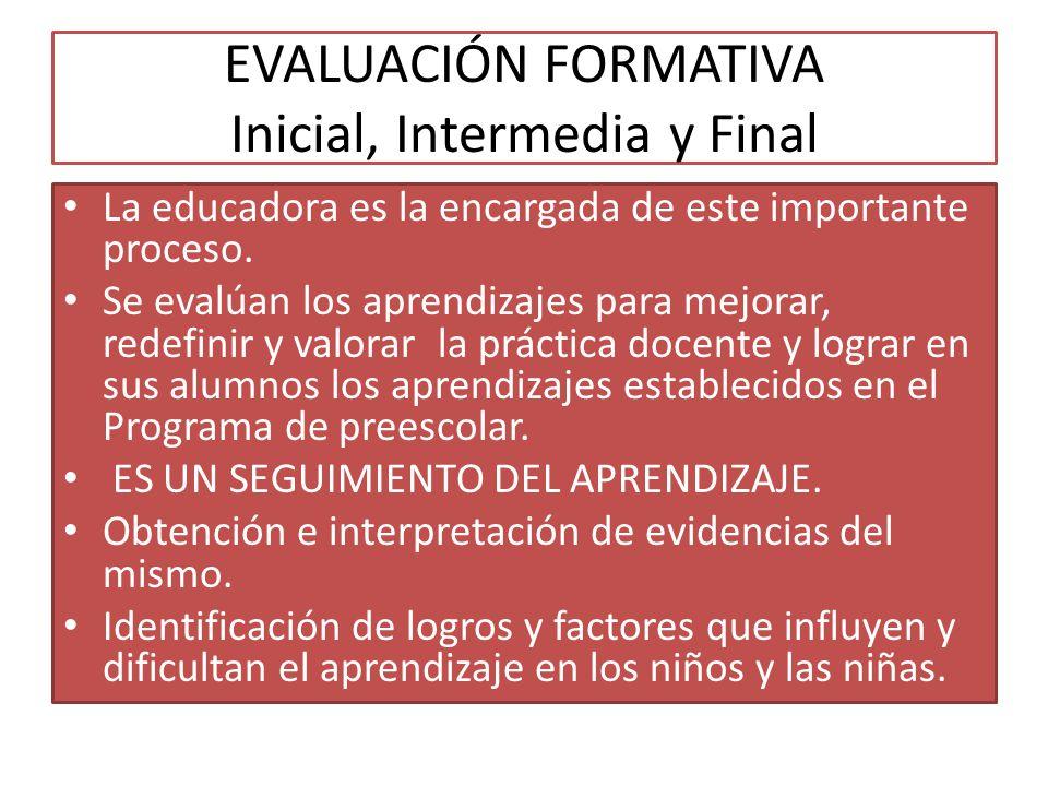 EVALUACIÓN FORMATIVA Inicial, Intermedia y Final