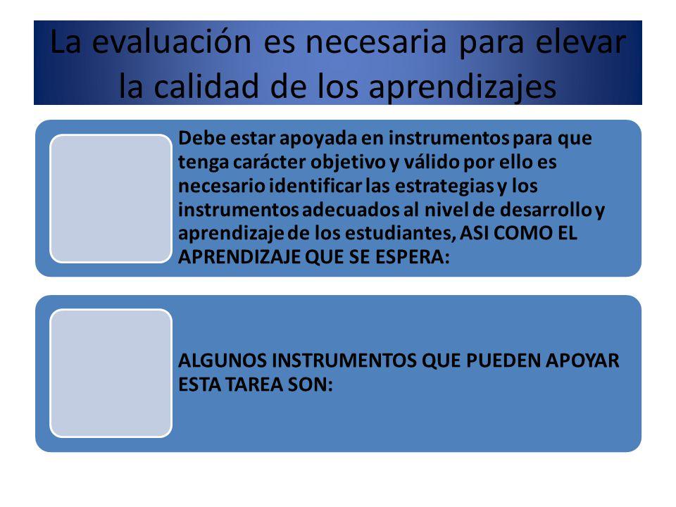 La evaluación es necesaria para elevar la calidad de los aprendizajes