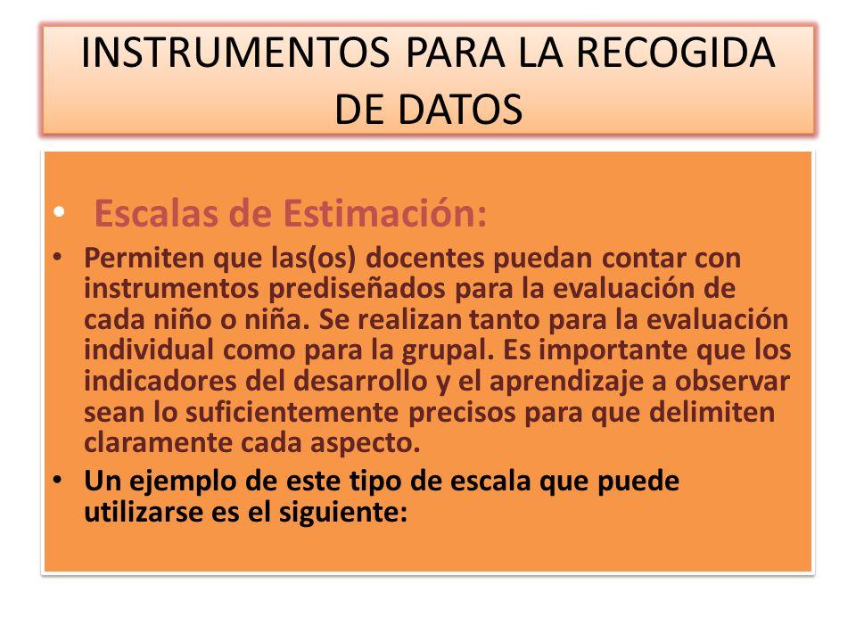 INSTRUMENTOS PARA LA RECOGIDA DE DATOS