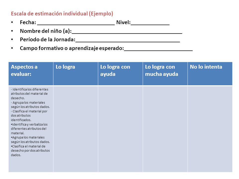 Escala de estimación individual (Ejemplo)