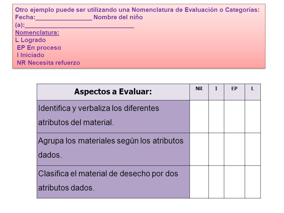 Identifica y verbaliza los diferentes atributos del material.