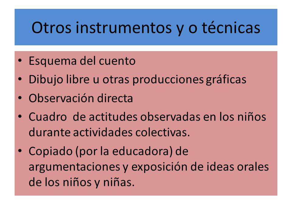 Otros instrumentos y o técnicas