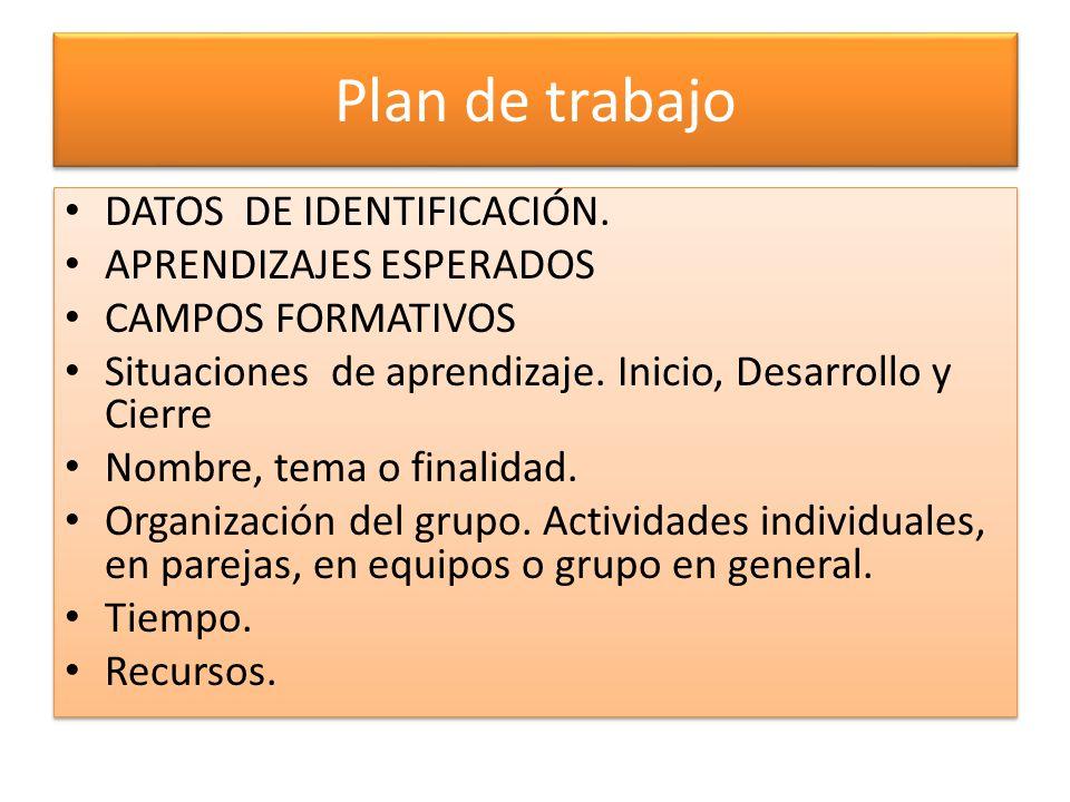 Plan de trabajo DATOS DE IDENTIFICACIÓN. APRENDIZAJES ESPERADOS