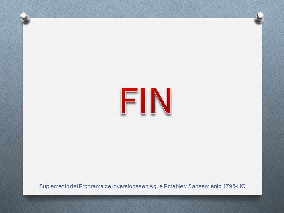 FIN Suplemento del Programa de Inversiones en Agua Potable y Saneamiento 1793-HO