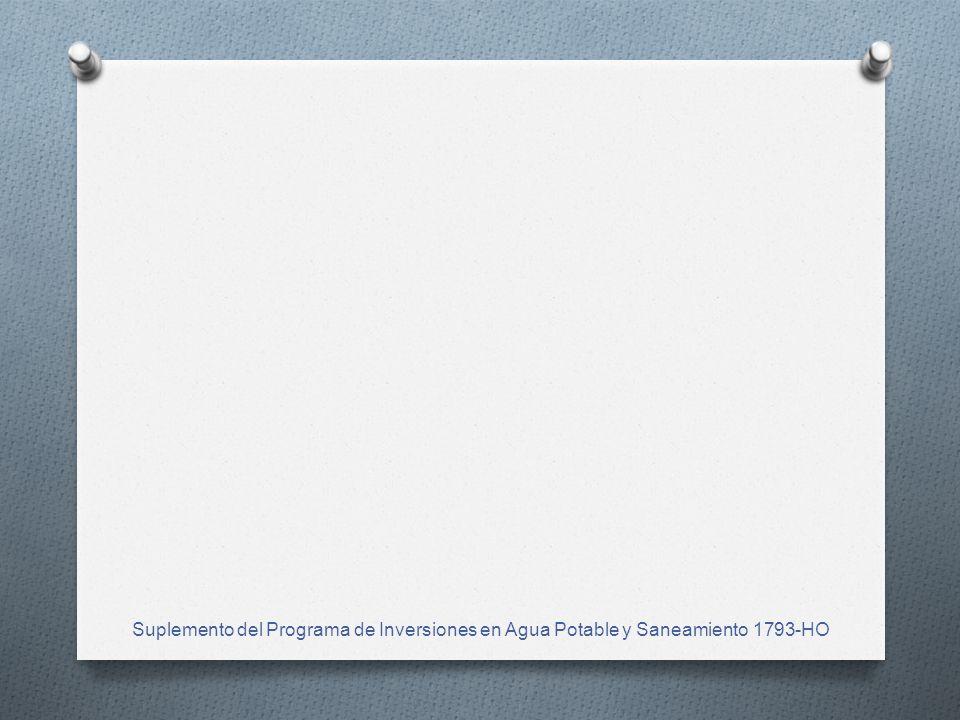 Suplemento del Programa de Inversiones en Agua Potable y Saneamiento 1793-HO