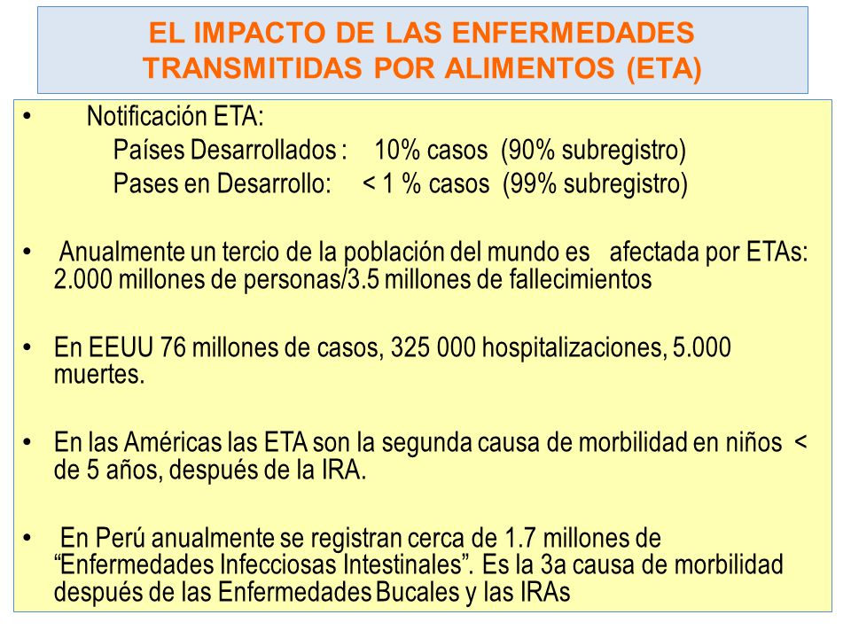 EL IMPACTO DE LAS ENFERMEDADES TRANSMITIDAS POR ALIMENTOS (ETA)