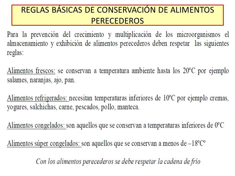 REGLAS BÁSICAS DE CONSERVACIÓN DE ALIMENTOS PERECEDEROS