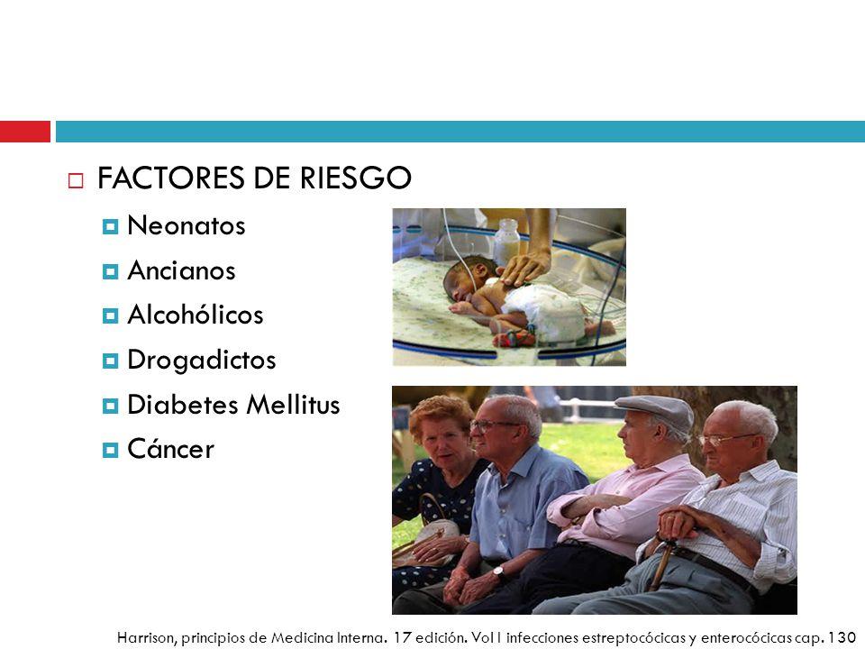 FACTORES DE RIESGO Neonatos Ancianos Alcohólicos Drogadictos