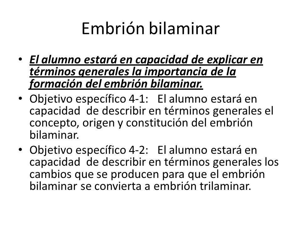Embrión bilaminar El alumno estará en capacidad de explicar en términos generales la importancia de la formación del embrión bilaminar.