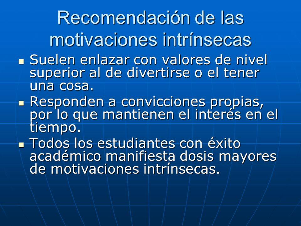 Recomendación de las motivaciones intrínsecas