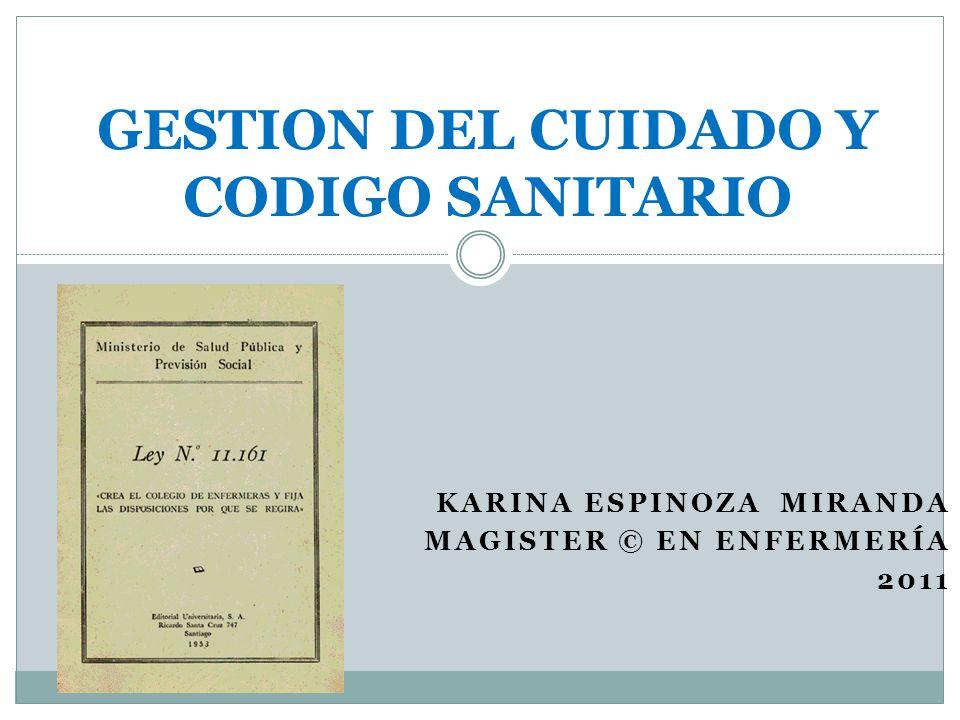 GESTION DEL CUIDADO Y CODIGO SANITARIO